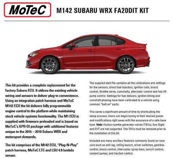 Motec M142 Plug and Play Kit- Subaru WRX 2015-2019