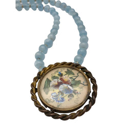 LISERON BLEU - Vintage French Brooch & Aquamarine Necklace