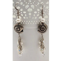 CORAIL BLANC - White coral, Silver, Freshwater Pearls Earrings