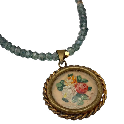 BOUQUET de ROSES - Vintage French Hand Painted Pendant & Green Amethyst Necklace