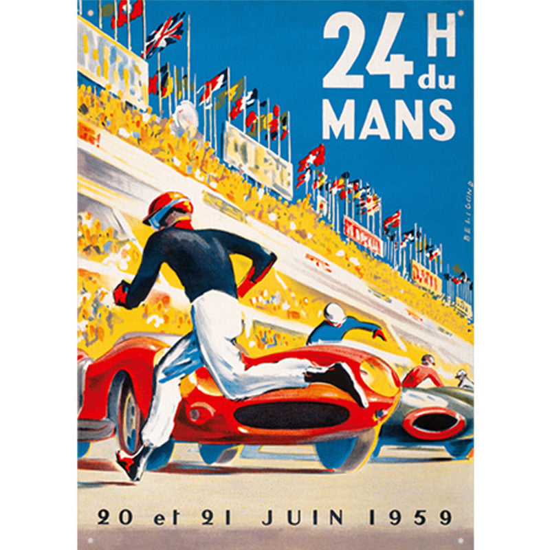 Embossed convex printed tin sign 24 heures du Mans