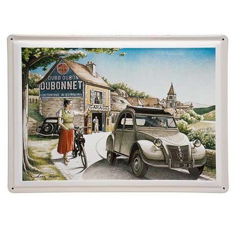 Embossed convex printed tin sign 2 CV Citroen