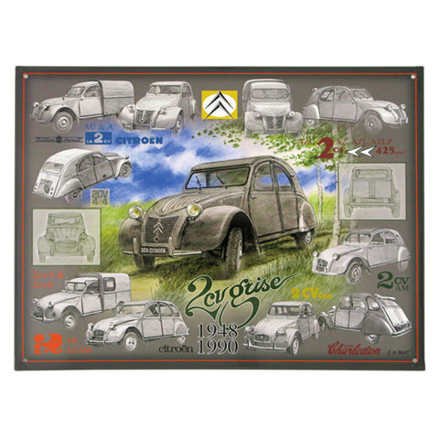Embossed convex printed tin sign 2 CV gray Citroen