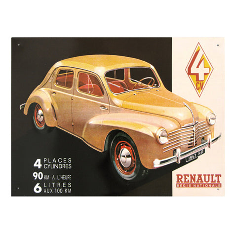 Embossed convex printed tin sign 4 CV Renault