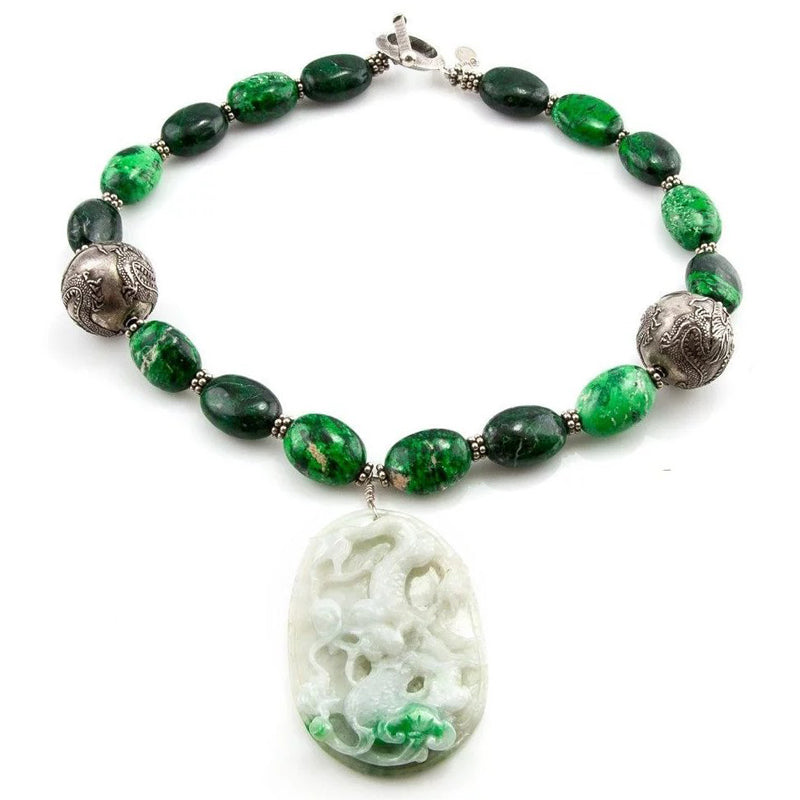 MOSS on SNOW - Jade Pendant Necklace