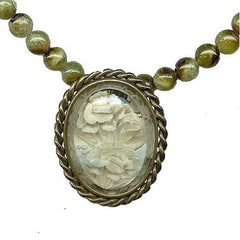 LUDIVINE - Vintage French Reverse Carved Lucite Brooch Necklace