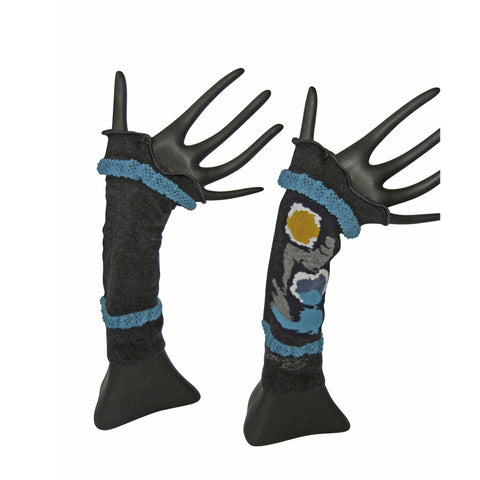 Arm Warmers - Blue Gray Mustard by French designer Berthe Aux Grands Pieds
