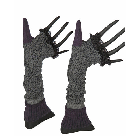 Arm Warmers – Gray Plum Lace by French designer Berthe Aux Grands Pieds