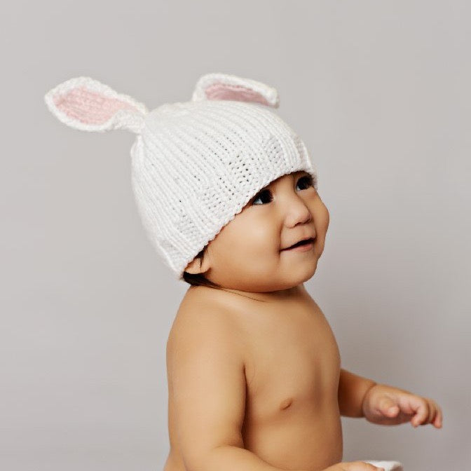 Bamboo Bunny Baby Knit Hat - Pink | Avenue Petit Lou