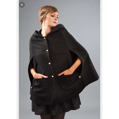 Cape Barbara – Black/gray Hooded Cape by French Designer Madeva