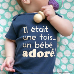 Organic Blue Onesie - French Design | Avenue Petit Lou