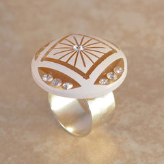 Painted Carved Lucite and Rhinestone Ring