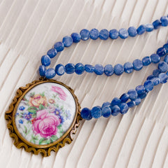 ROSES de FRANCE - Limoges Pendant & Blue Kyanite Necklace