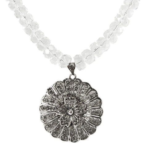 FLEUR de DENTELLE - Filigree pendant & rock crystal necklace.
