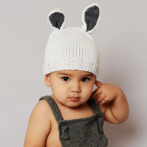 Bamboo Bunny Baby Knit Hat - Gray | Avenue Petit Lou