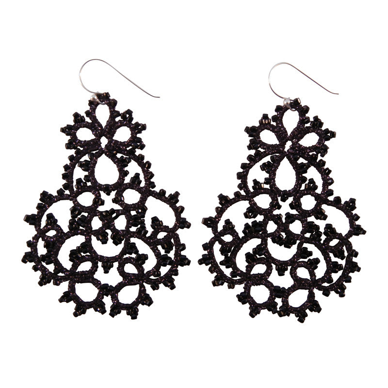Lace Large Black Chandelier Earrings by French Designer Lorina ...