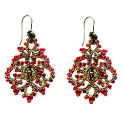 Lace Red Chandelier Earrings by French Designer Lorina