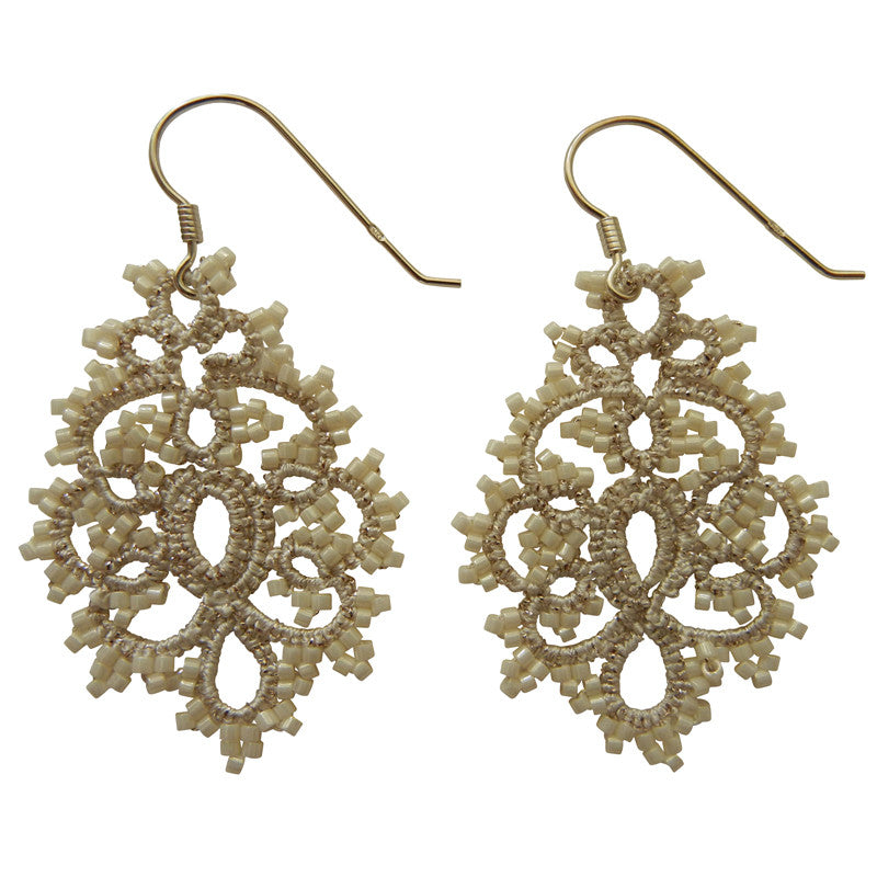 Lace Small White Chandelier Earrings by French Designer Lorina