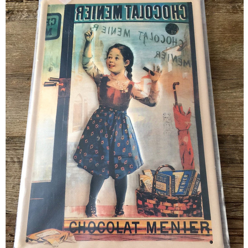 Embossed convex printed tin sign Menier Chocolate
