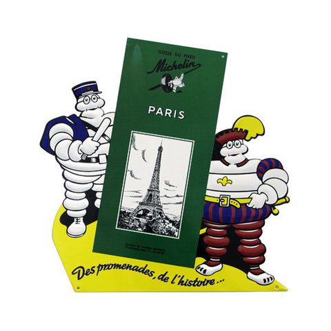 Embossed die-cut printed tin sign Guide Michelin Paris