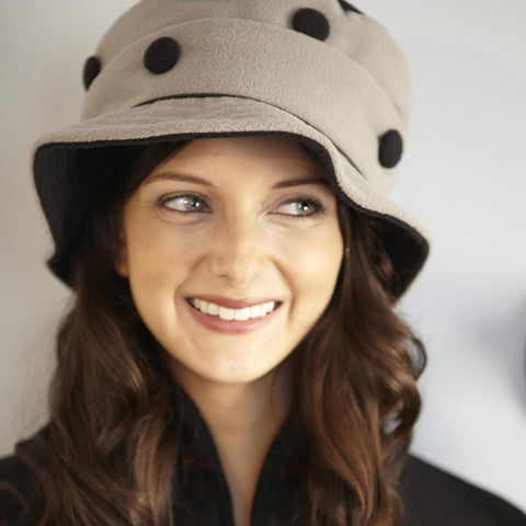 Piccadilly Gray/Black Polka Dot Hat By French Designer TurboWear