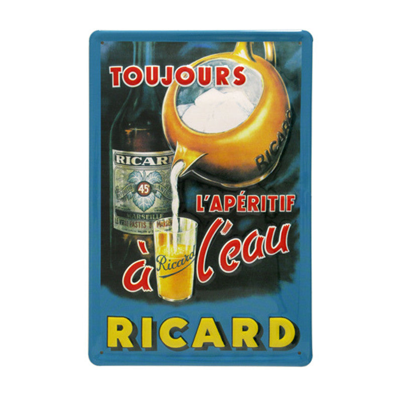 Embossed convex printed tin sign Ricard