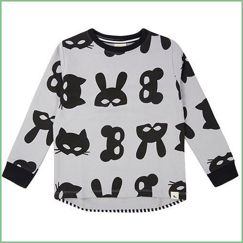 Kids - Organic Sweatshirt - Animal Mask Print