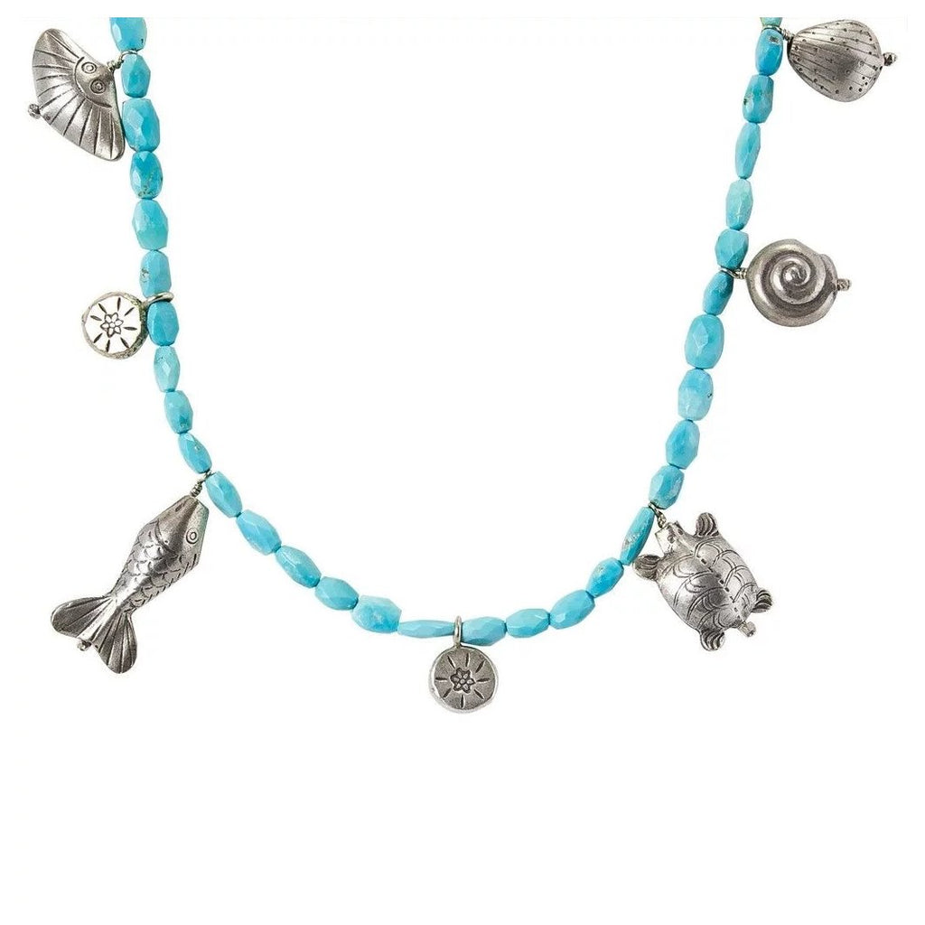 Mer Turquoise - Thai silver & Sleeping Beauty Necklace