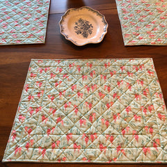 Provence Valdrome Light Green/Pink Placemats - Set of 2