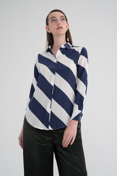 DREW (Limited Edition Print) - Navy Off-white Diagonal Stripes