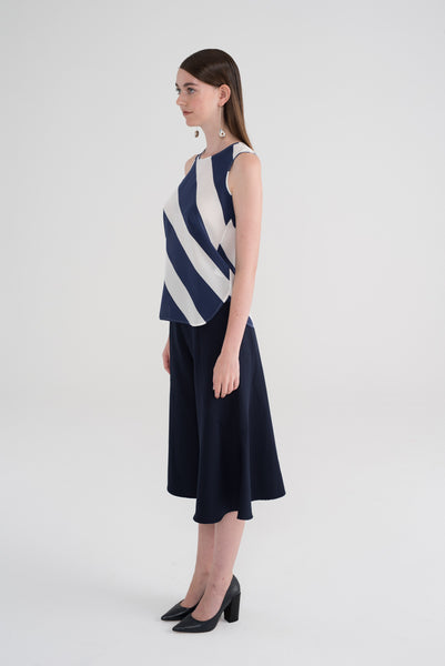 TAYLOR (Limited Edition Print) - Navy Off-white Diagonal Stripes
