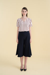 LILY - Navy Burnt Orange Brick Stripes