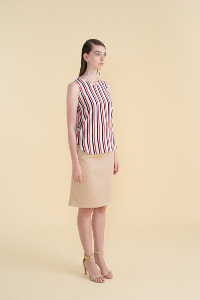TAYLOR (Limited Edition Print) - Navy Burnt Orange Vertical Stripes