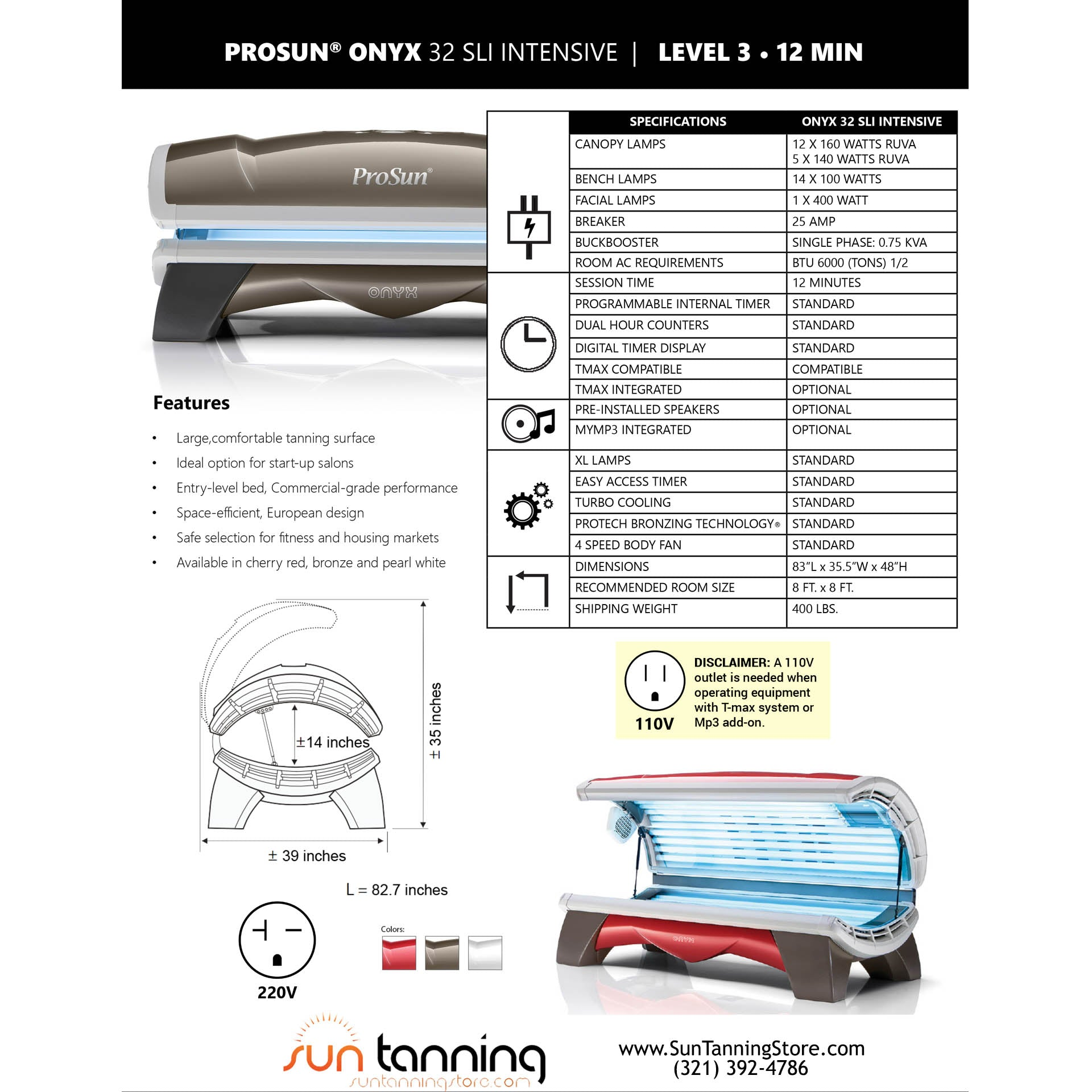 ProSun Onyx 32 SLi Intensive Level 3 Commercial Tanning Bed | $0 00
