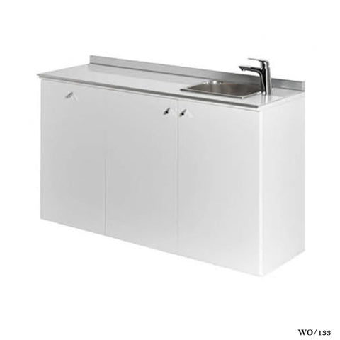 Salon Ambience WO/133 Service Cabinet 120cm glass top w/Basin-White