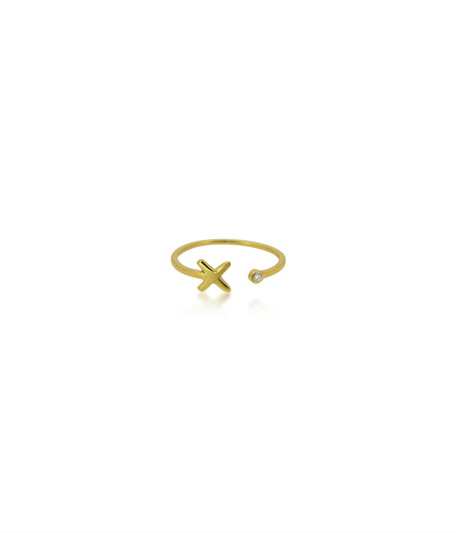 Champagne Diamond Gold Kisses Ring