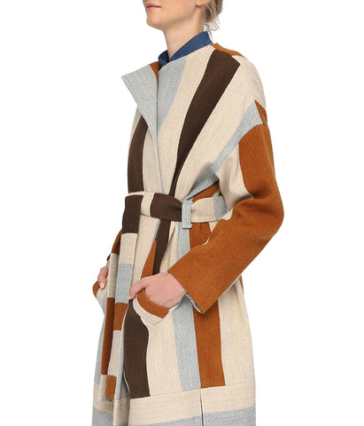 Brown Striped Long Wool Coat 'Aron'