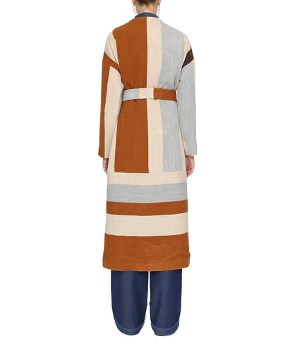 Brown Striped Long Wool Coat