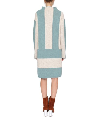 Blue Striped Wool Dress with Long Sleeves