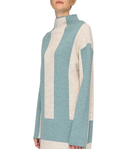 Blue Striped Wool Dress with Long Sleeves 'Basa'