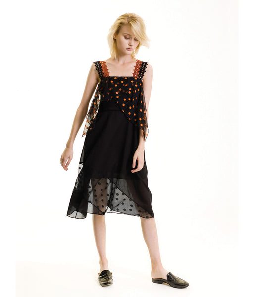 Deco Patchwork Dress Black & Rust Anya