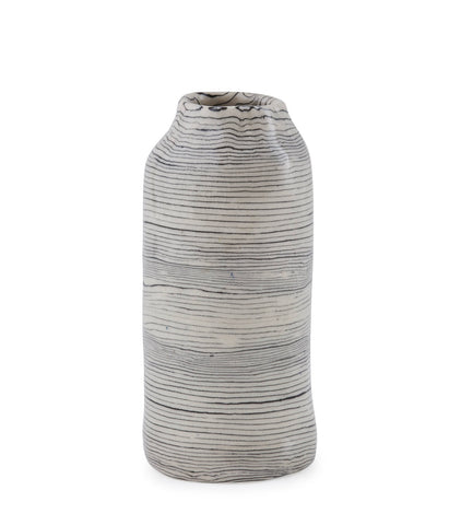 'Dendrochronology' Wood spiralled Nerikomi Porcelain Vase- Short