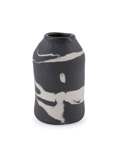 Nerikomi Marbled Black Porcelain Vase- Small