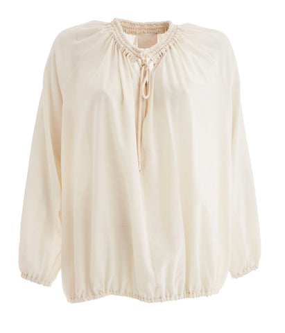 Cream Gypsy Drawstring Silk Blouse
