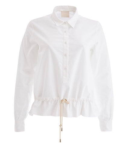 White Drawstring Waist Silk Blouse