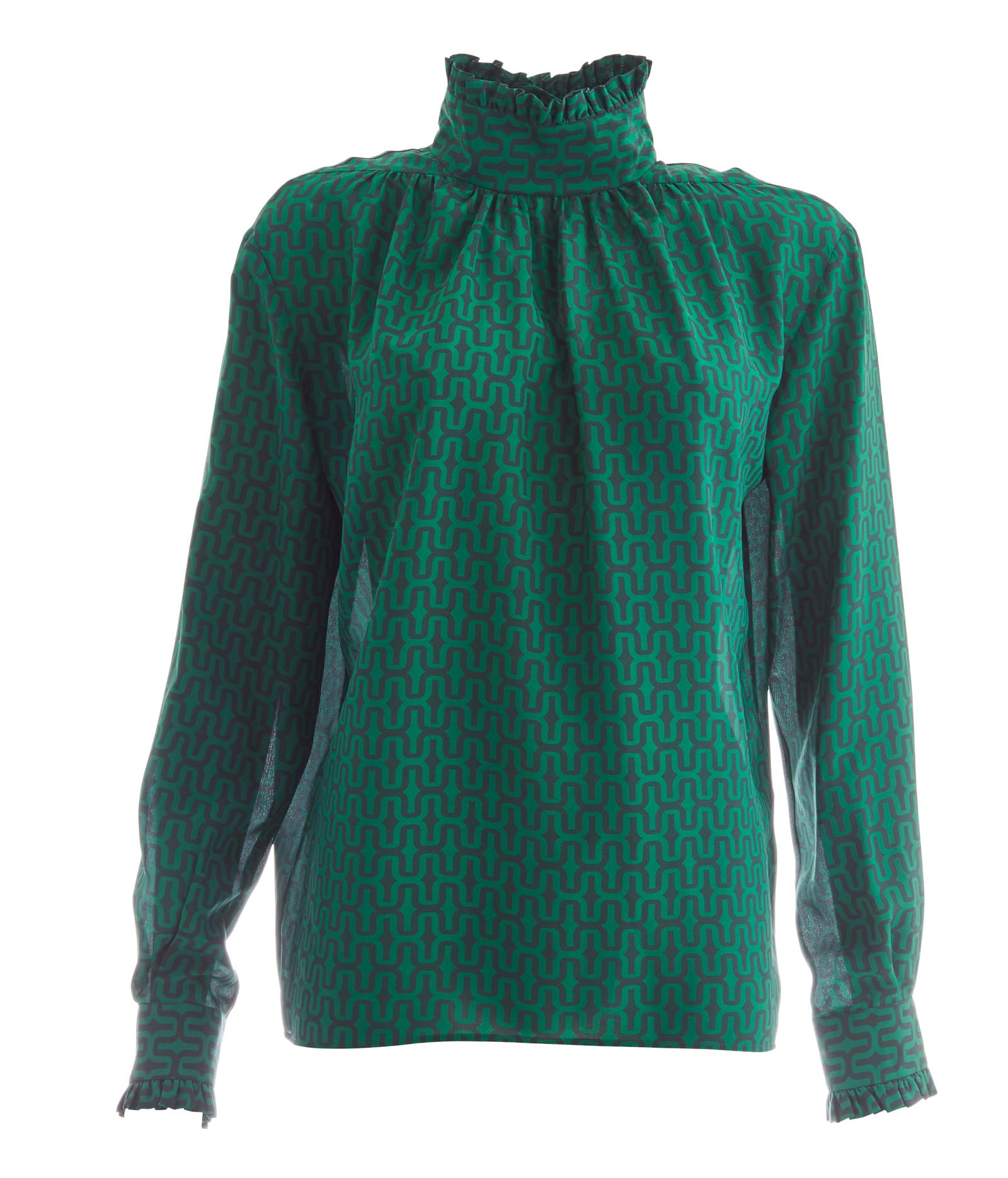 Green Geometric Silk Blouse- Ruffled High Collar