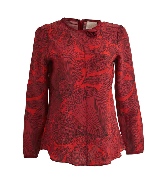 Red Botanical Silk Blouse