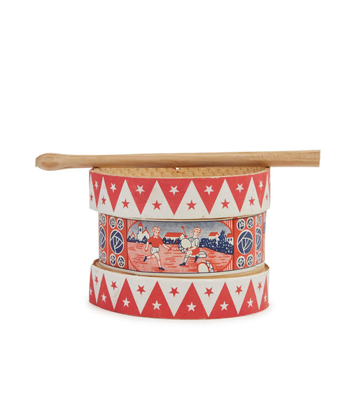 Wooden Toy Drum With Illustrated Girl And Stick