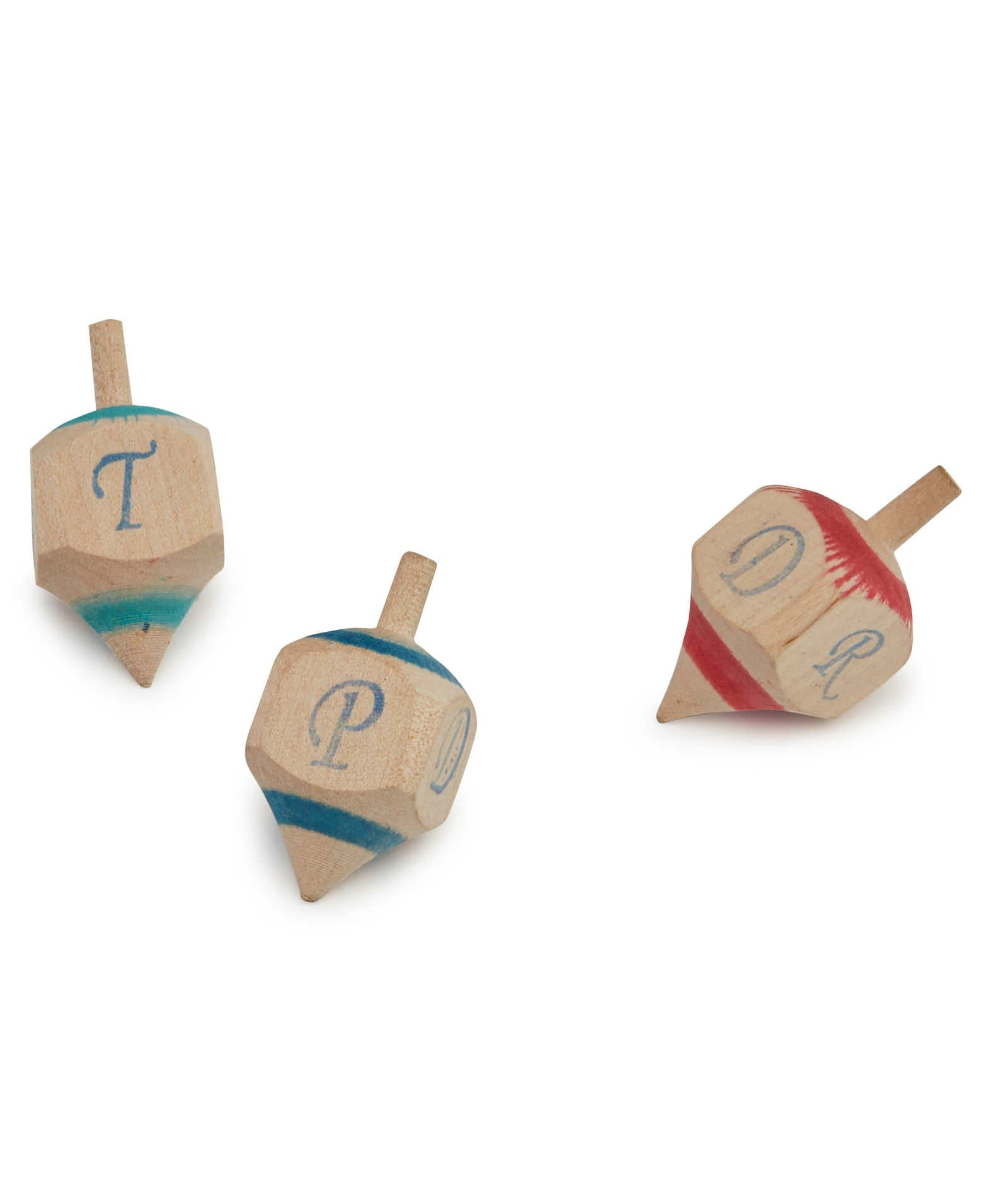 Wooden Rapa Dice In Blue, Green And Red.
