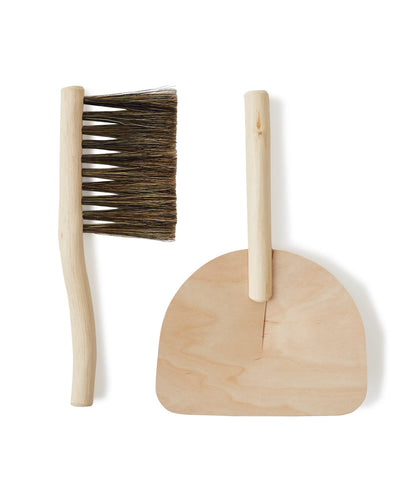 Natural Wooden Desk Pan and Brush